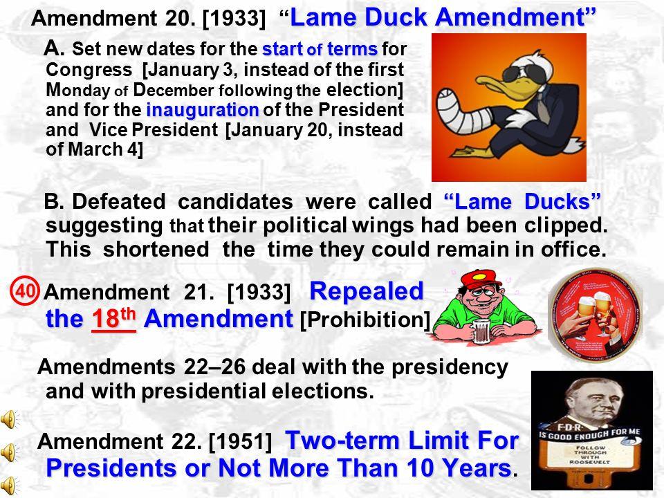 Amendment 20. [1933] Lame Duck Amendment
